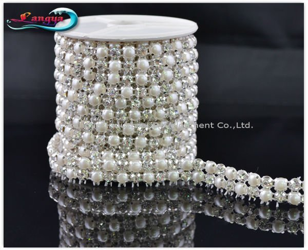 LY11929, NEW ARRIVAL! Rhinestone mesh chain,sew on 5mm pearl and crystal beads in claw,MOQ:1 roll, rhinestone trim Free shipping