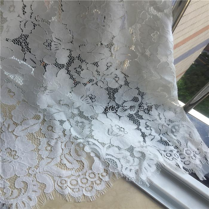 1 stuk/partij hoge katoen chantilly cord wimper kant stof catwalk jurk stof trouwjurk accessoires melkwitte - 3