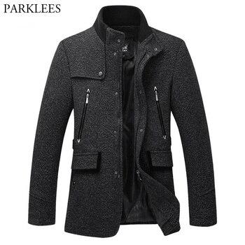 Stand Collar Duffle Coat Men 2017 Winter British Style Mens Cashmere Coat Zipper Trench Coat Men Brand Manteau Homme Overcoat