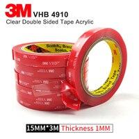 1 ロール/ロット 15 ミリメートル * 3 メートル 1 ミリメートル厚さ VHB シリコーンテープ高温透明アクリルダブルサイドゴムテープ 3 メートル 4910