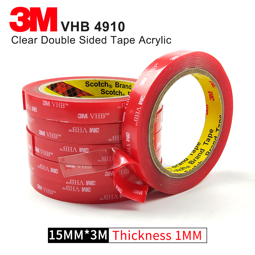 1ROLL/Lot 15MM*3M 1MM Thickness VHB Silicone Tape High temperature Clear Acrylic Double Side Rubber Tape 3M 4910 цена 2017