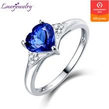 d743389b38fb Corazón tanzanita Natural de las mujeres anillo de diamantes de lujo Real  18 K oro blanco joyería encantadora Regalo para mamá T..