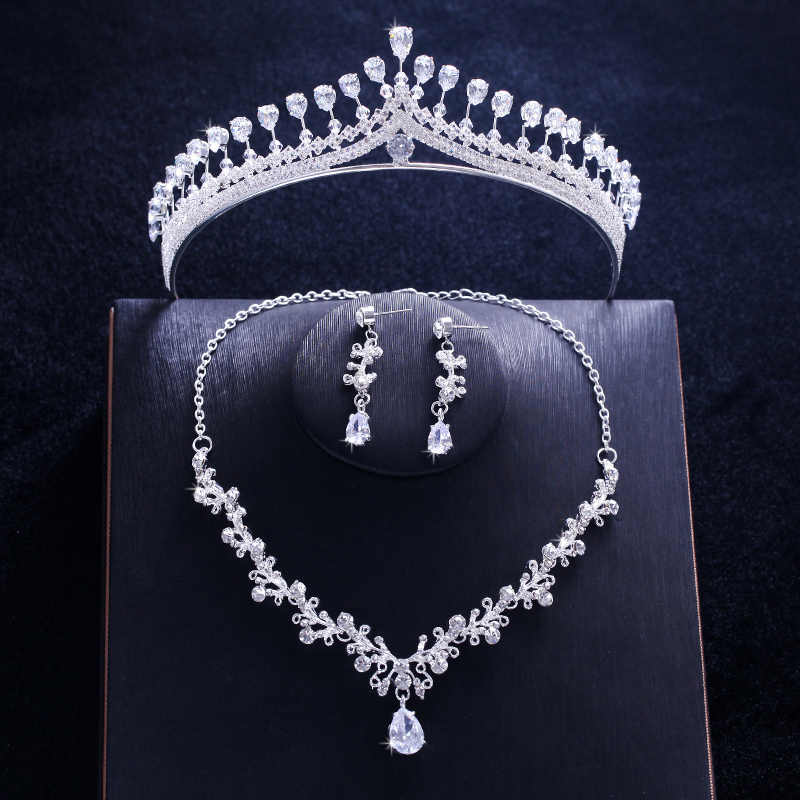 Luxury Wedding Bridal Jewelry Sets CZ Cubic Zirconia Tiara Necklace Earrings for Women Hair Accessories Girl King Princess Crown