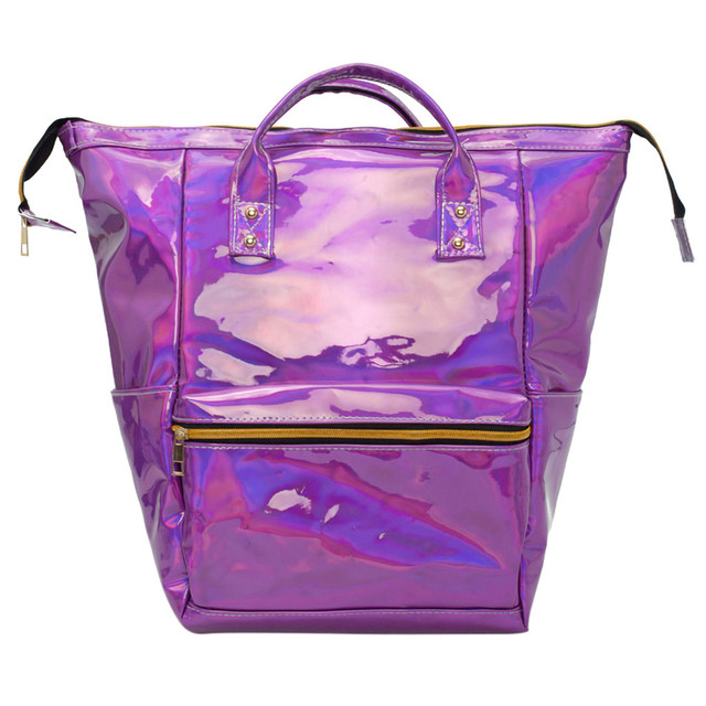96d2b08bf9 US $8.4 44% OFF|Mini Travel Bags Silver Blue Pink Laser Backpack Women  Girls Bag PU Leather Holographic Backpack School Bags for Teenage Girls-in  ...