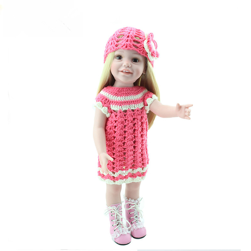 One Piece 18 inch Handmade Full Vinyl American Girl Doll Fashion Reborn Baby Toys Children Birthday Gift Dolls Blonde Juguetes princess dress for 18 inches american girl doll children bjd baby born dolls handmade accessories toy christmas birthday gift