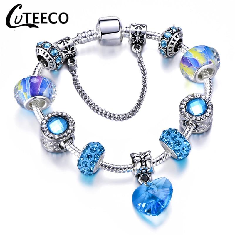 CUTEECO 925, модный серебряный браслет с шармами, браслет для женщин, Хрустальный цветок, сказочный шарик, подходит для брендовых браслетов, ювелирные изделия, браслеты - Окраска металла: AE0245