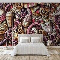 hand drawn cartoon ice cream 3D Wallpaper for Walls Cold drink restaurant tea bar KTV background wallpapers mural decoration