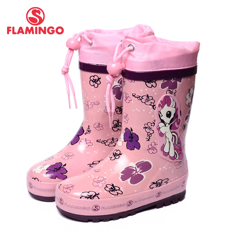 FLAMINGO famous brand 2017 new collection spring-autumn fashion gumboots with wool quality anti-slip kids shoes for girls W5532 ...
