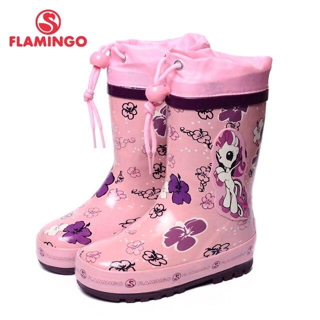 Flamingo известная марка 2017 новая коллекция весна-осень мода резиновые сапоги с шерстяной качество против скольжения детская обувь для девушки w5532