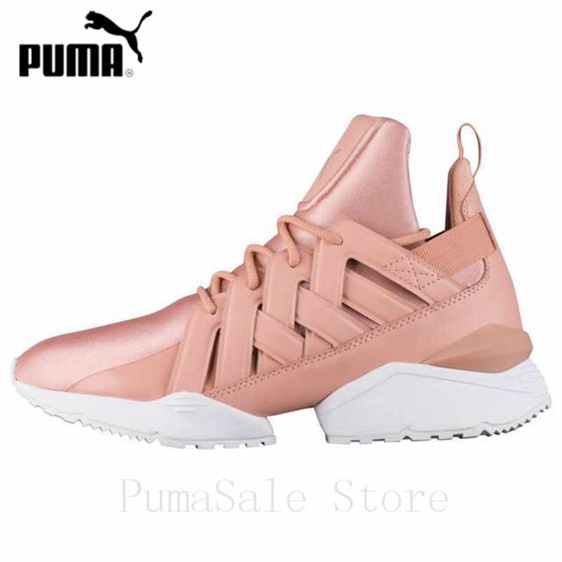2dde985644 PUMA Women's Muse Echo Satin EP Sneakers Badminton Shoes 365521-01 Pink  Color Sneakers High Quality Shoes Women Size 35-40