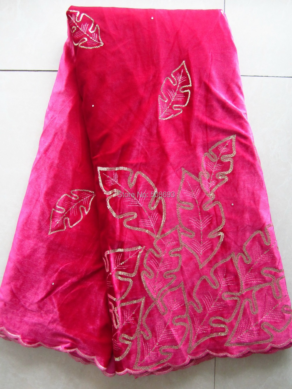 Fushia розовый цвет дизайн Корея бархат кружевной ткани из качественный материал качество роскошь для случая