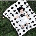 INS nununu Bebé infantil caliente Negro cruz fondo manta Colcha de Algodón negro y blanco de doble cara de punto safa Baño grande