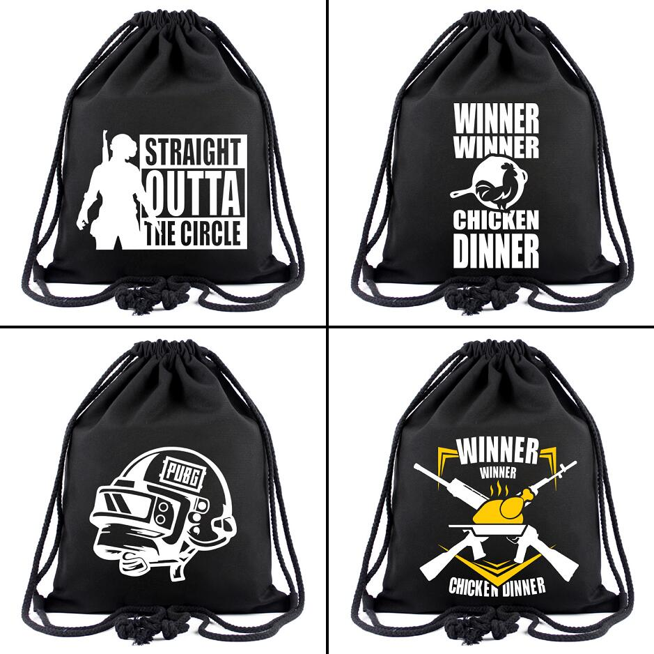 PUBG PlayerUnknown's Battlegrounds Canvas Drawstring Bags Backpack Women Fashion Cosmetic Container Casual Beach Bag Shoes Pouch