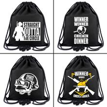 PUBG PlayerUnknown s Battlegrounds canvas Drawstring bags Backpack Women Fashion Cosmetic Container casual Beach Bag Shoes