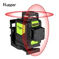 Лазерный уровень на 8 линий, самовыравнивающийся трехмерный лазерный уровень 360 градусов, модель 902CG с зеленым лучом, мощный лазерный луч Huepar - Цвет: Red lines