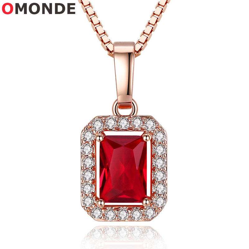 New Arrival Crystal Red Cubic Zircon Stone Pendant Necklace Women 45cm 18″ Rose Gold Box Chains Girls Neck Trendy Choker Jewelry
