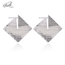 Badu Square Stud Earring Antique Silver Striped Metal Studs Women Punk Rock Earrings Retro Vintage Gift for Girls