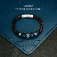 REAMOR פאנק גברים תכשיטי עור אמיתי קלוע צמידי שחור זירקון נירוסטה כחול חרוזים צמידי אופנה זכר צמיד