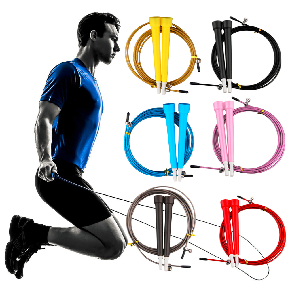 3.0m Cable Steel Jump Skipping Jumping Speed Fitness Rope Cross Fit MMA Boxing wholesale