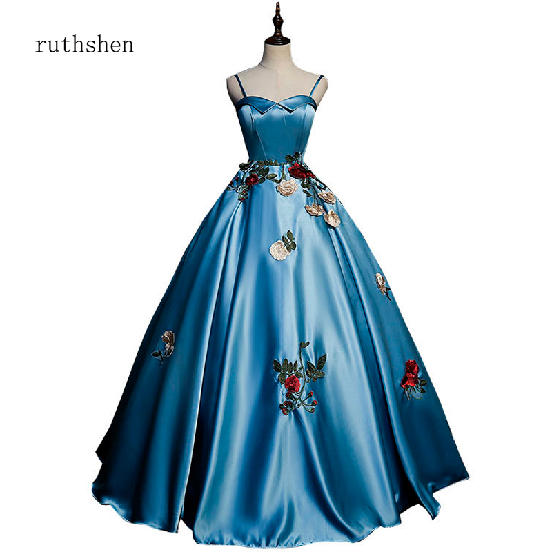 ruthshen robe de soiree Reflective   Dress   Satin   Prom     dress   Gown Long Embroidery Evening   Dresses   Elegant Party Event   Prom     Dress
