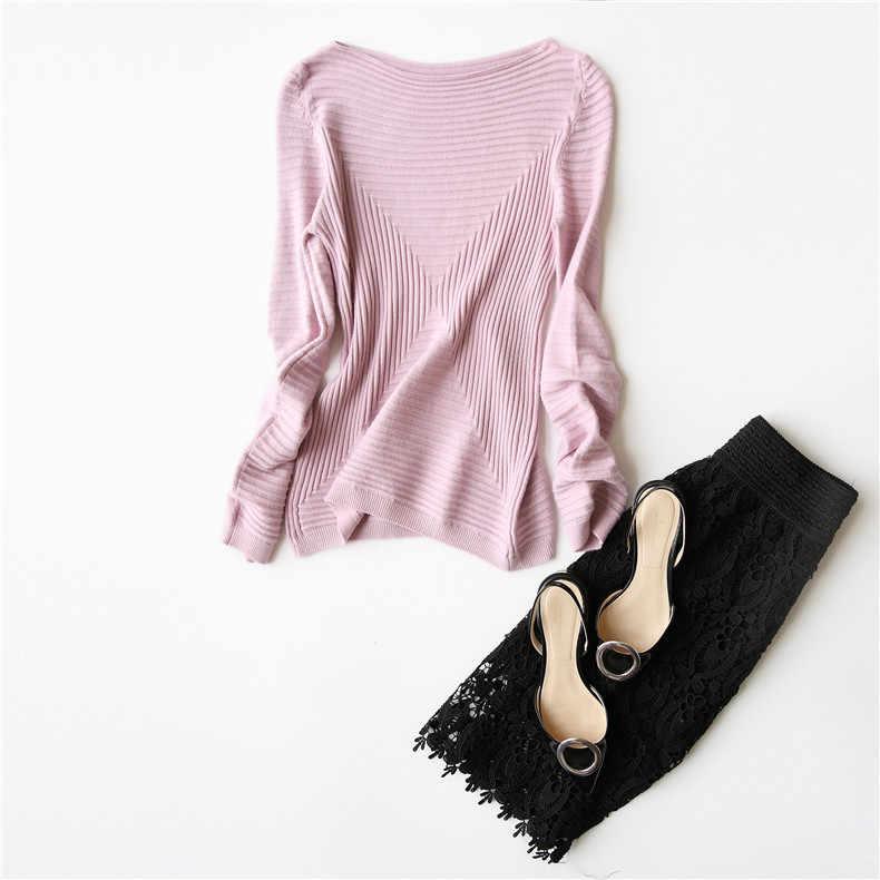 Suéter INNASOFAN para mujer Otoño-Invierno suéter tejido Euro-americano moda elegante suéter de color sólido con mangas largas