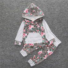 Baby Girls Long Sleeve Hooded Tops Floral Pants