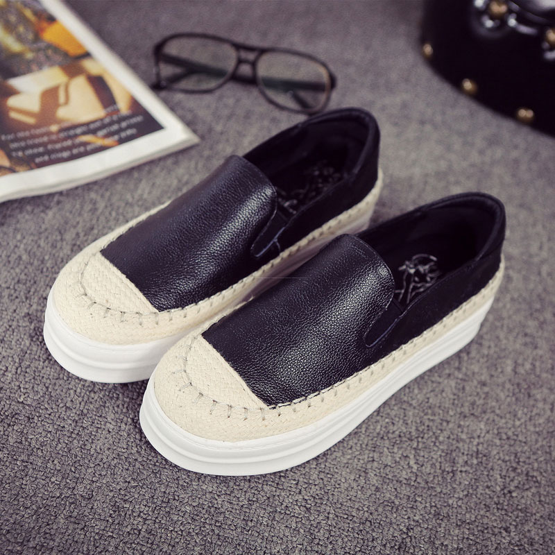 ФОТО Women's Shoes 2017 Genuine Leather Fashion Women Luxury Ladies brand Flat Shoes Female Autumn Casual platform Loafers Zapatos