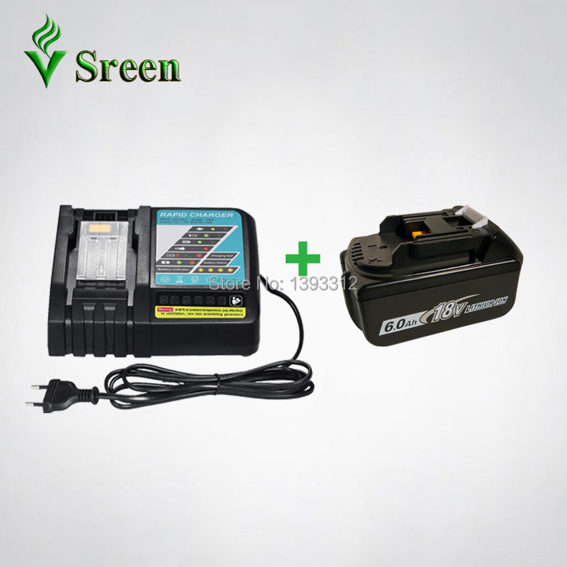 6000mAh BL1860 Rechargeable Li-Ion Battery with Power Tool Battery Charger Replacement for Makita 18V BL1830 BL1840 BL1815