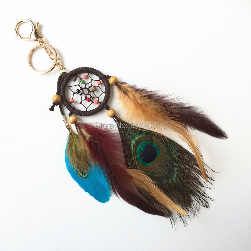 Peacock Feather Dream Catcher Car Domov Viseči okras Darilo Brezplačna dostava