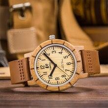 Leeev Bamboo Wood Watch for Men Women Fashion Casual Leather Strap Wooden Wrist Watch Male Relogio EV1875TX