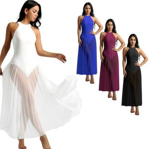 Image 2 - נשים מבוגרים בלט ריקוד שמלת עכשווי מודרני בגד גוף בלט בגד גוף בציר ארוך שמלת בלט בלרינה שלב ריקוד ללבוש