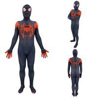 New Spider Man: Into the Spider Verse Miles Morales Cosplay Costume Superhero Zentai Adults Kids Men Boy Spiderman Suit Bodysuit