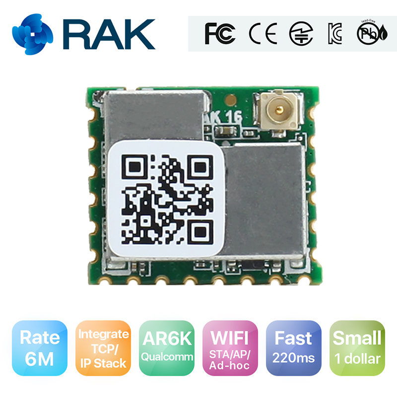 RAK439 Low Power Tiny Size High-speed SPI wifi module Integrate TCP/IP Stack Wireless IoT Module with External Antenna Q123 rak475mb low power tiny size uart serial to wifi industrial module wireless iot module ap sta mode telec ce fcc kcc certify q115