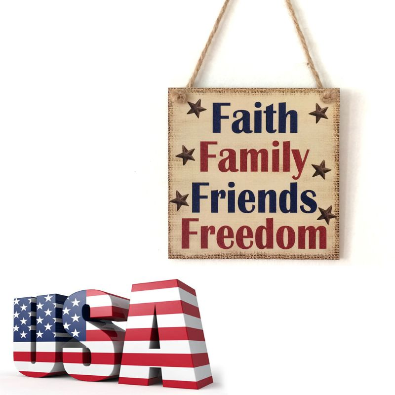 Image 5 - Rustic Wooden Hanging Plaque Sign Board Faith Family Friends Freedom Room Wall Door Home Decoration Gift-in Plaques & Signs from Home & Garden