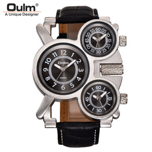 Image 5 - OULM 1167 Mens Vintage Steam Punk Leather Band Watches 3 Time Zone Japan MOVT Casual Quartz Watch