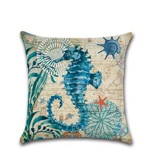 Image 4 - CAMMITEVER Cotton Linen Pillow Cover Seaworld Octopus Sea Turtle Hippocampus Cushion Cover Home Decorative Pillow Case Blue