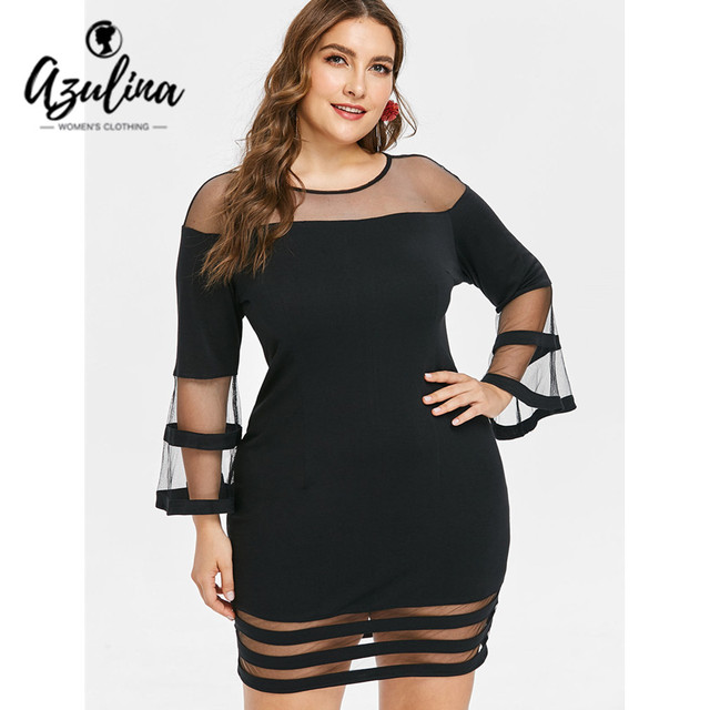 13d2b71ea74f2 AZULINA Plus Size Flare Sleeve Mesh Yoke Bodycon Dress Women Casual O Neck  Long Sleeve Mini
