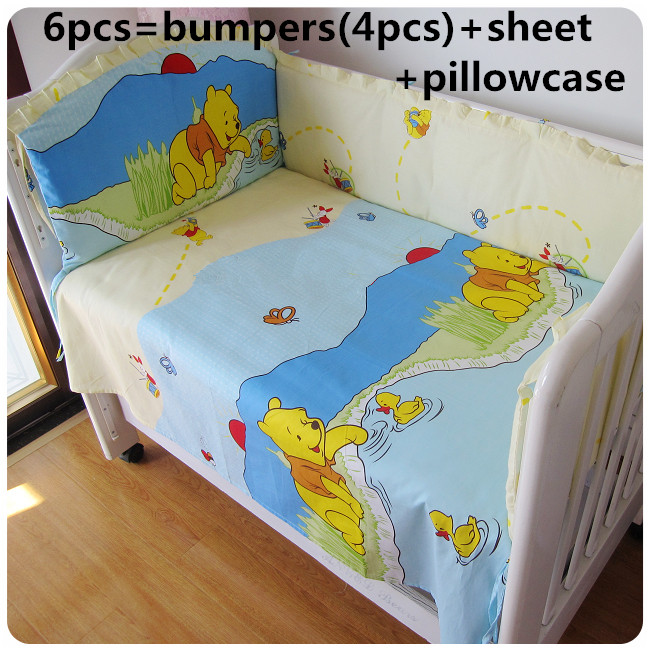 2017! 6PCS Baby Bedding Set Character Crib Bedclothes Include Pillow Bumpers (bumpers+sheet+pillow cover)