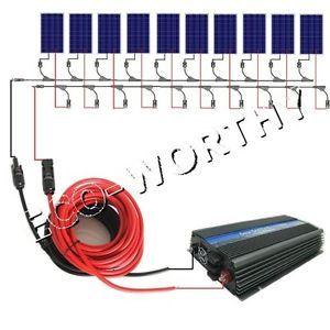 10x100W solar panel&MPPT function 1000W inverter-1KW grid tie PV solar panel kit
