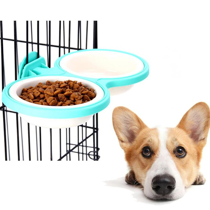 Green Double Pet Bowls For Dog Puppy Cats Food Water Feede Detachable Pet Double Bowls Hanging Cage Dog Dish Feeder Kit