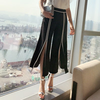 2017 Summer Wear New Product Easy Temperament High Waist Hit Edge Vent Nine Part Leisure Time