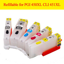 5color Refillable ink cartridge PGI450 XL CLI451XL PGI-450 refill cartridge for Canon PIXMA ip7240 MG5440 MX924 with ARC chip