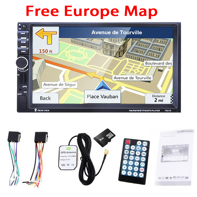 7 Inch 2DIN HD Car GPS Navigation 8GB Europe Map MP3 Player Car Bluetooth Stereo FM