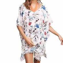 Пляжный Купальник с растительным узором накидка кафтан летняя рубашка Женский Восточный халат пляжное платье плюс размер купальная одежда купальник бикини прозрачная пляжная одежда