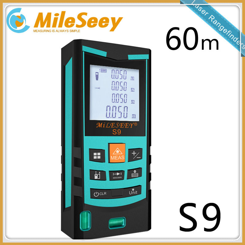 ФОТО laser distance meter Mileseey free shipping S9 60M  laser range meter  rangefinder laser slope measure Blue Special counter