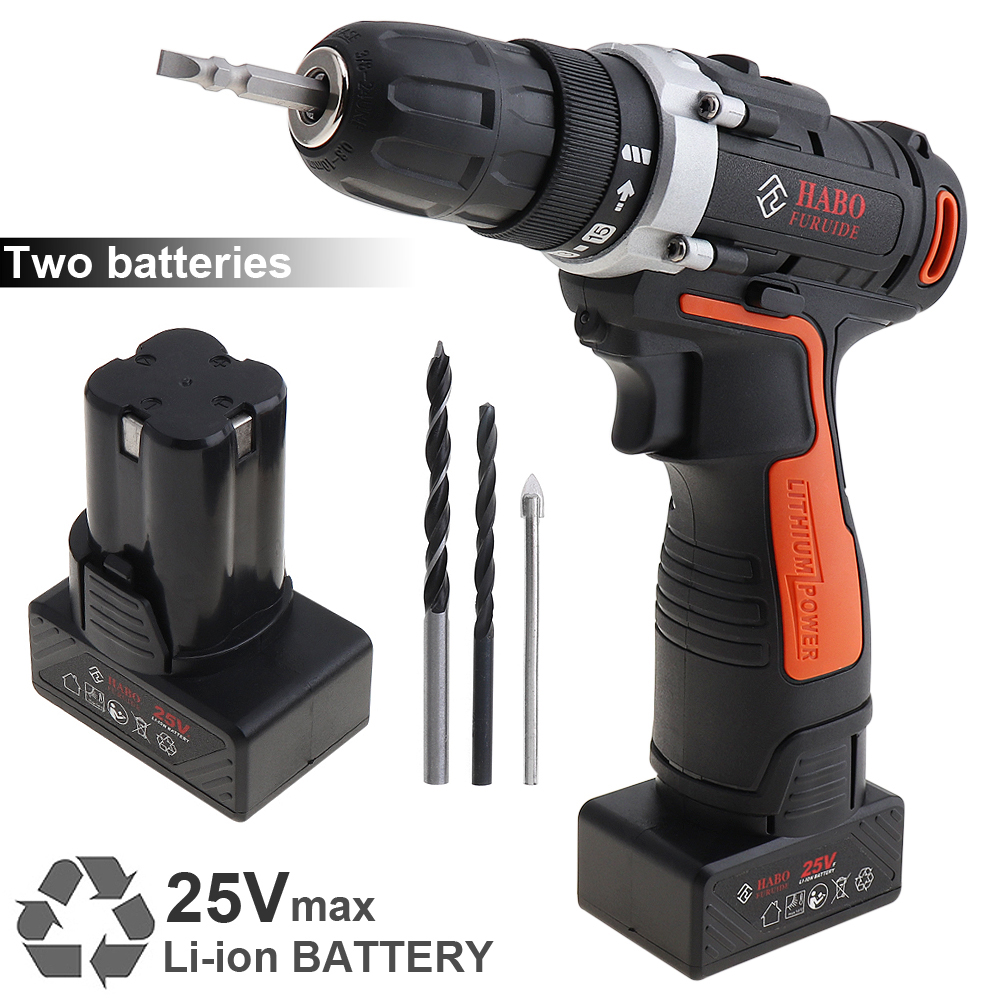 AC 220V Cordless 25V Electric Drill / Screwdriver with 2 Li-ion Batteries and Two-speed Adjustment Button for Handling Screws accell disposable 180mah li ion button batteries 5 pcs