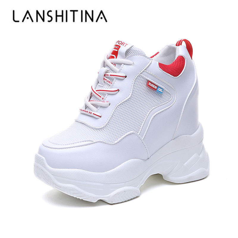 2019 Women Sneakers Mesh Casual Platform Trainers White Shoes 11CM Heels Spring Wedges Breathable Woman Height Increasing Shoes