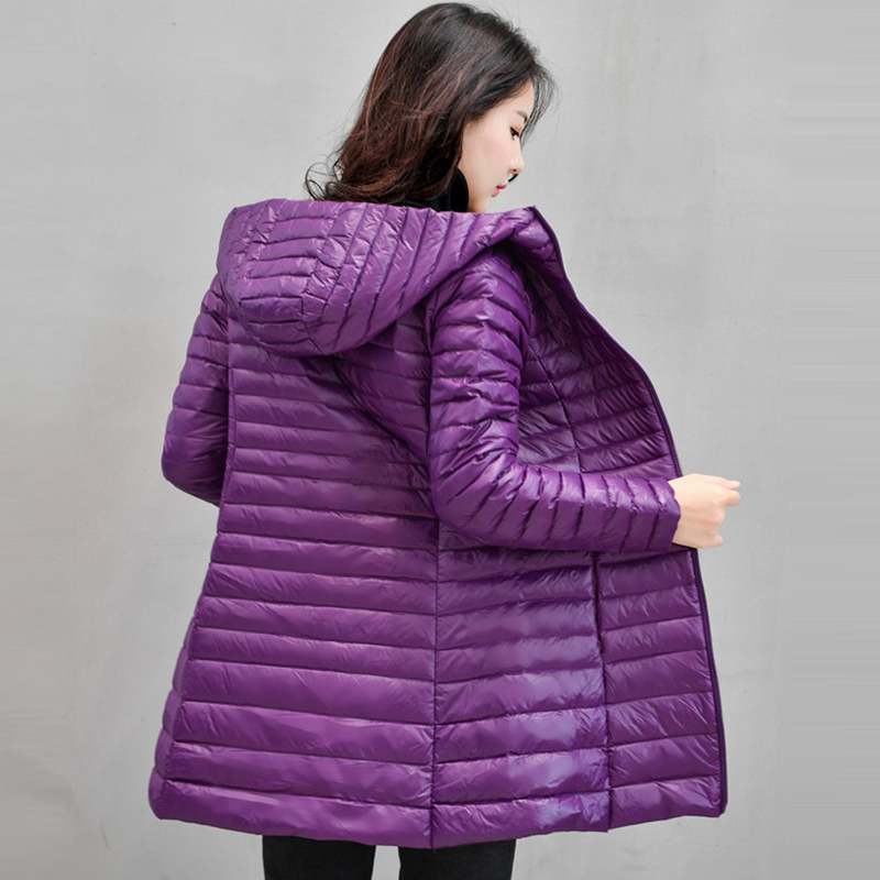women   down   jacket winter long hooded white duck   down     coats   2017 new large size   down   outerwear warm ultra light   down   tops QH1013