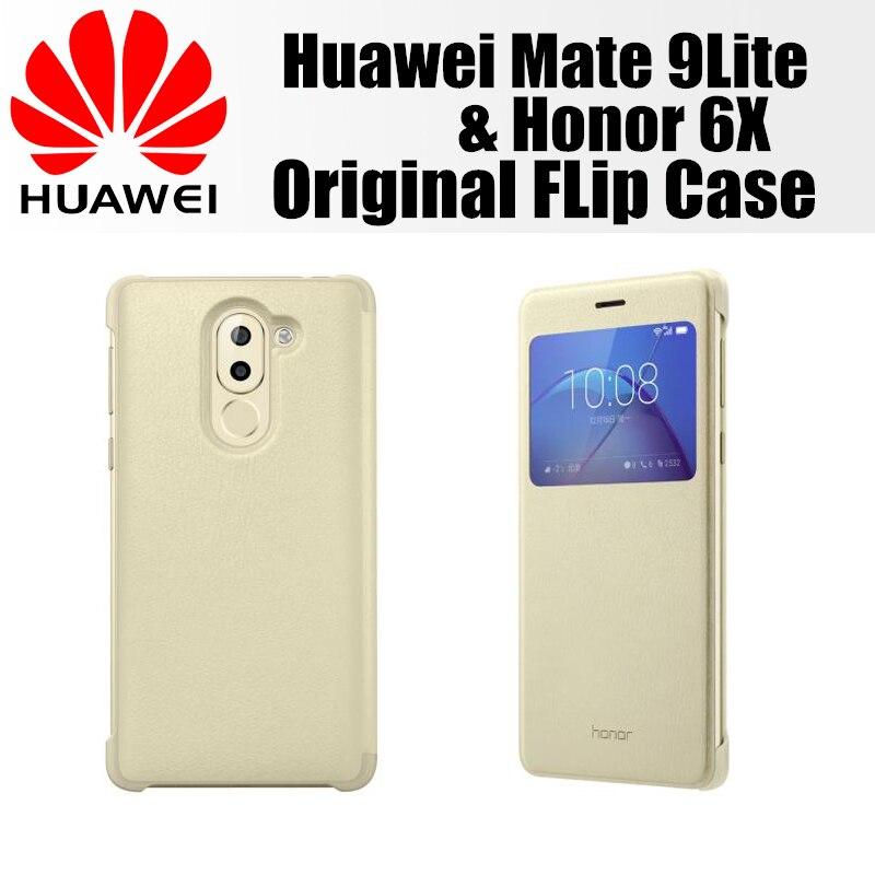 imágenes para Huawei honor 6x caja original 100% de la empresa huawei funda de piel cubierta abatible inteligente compatible con huawei GR5 (2017) mate9 lite