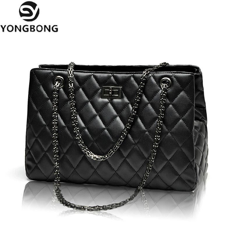 YONGBONG Fashion Woman Big Embroidery Bags Ladies Luxury Handbag Women  Plaid Chain Shoulder Bag Large Quilted Bolsas Femininas - Designer  Accessories Online ... 7eba12b8ddc69